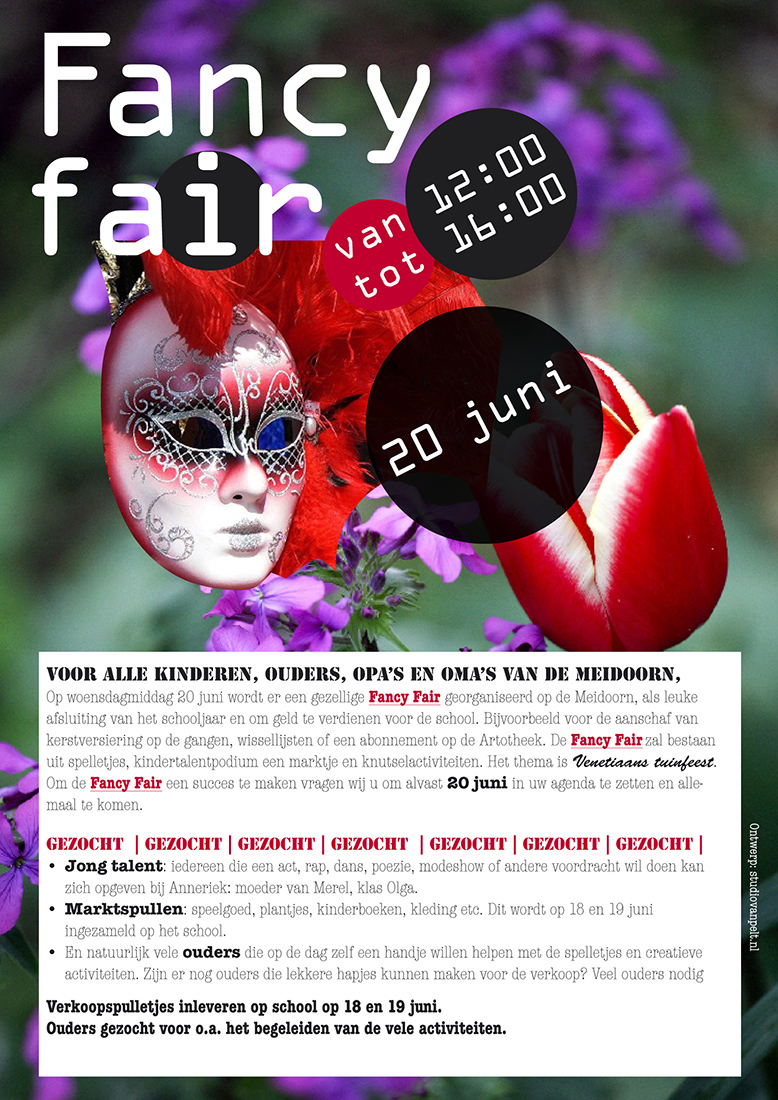 Affiche Fancy Fair Meidoorn School Amsterdam