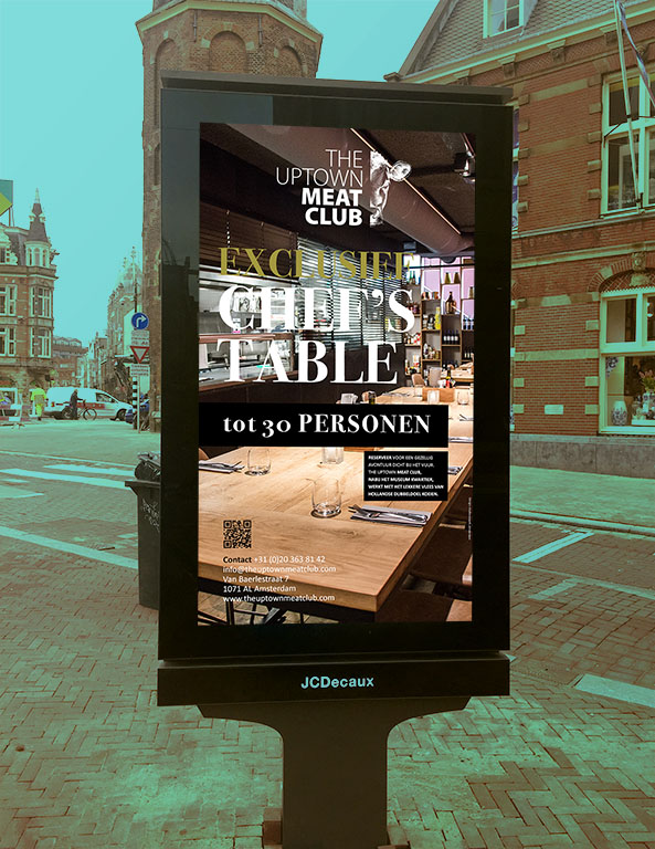 Abri Chefs table poster voor Uptown Meatclub